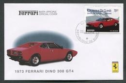 FDC FERRARI - BUSTA UFFICIALE - 1973 FERRARI DINO 308 GT4 - REPUBLIQUE DE GUINEE - 433 - Automobili