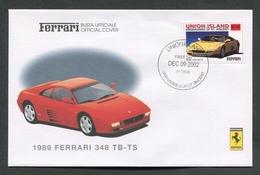 FDC FERRARI - BUSTA UFFICIALE - 1989 FERRARI 348 TB - TS - UNION ISLAND - 436 - Automobili