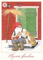 Postal Stationery - Birds - Bullfinches - Elf Eating Porridge Cat - Red Cross - Suomi Finland - Postage Paid - Finlandia
