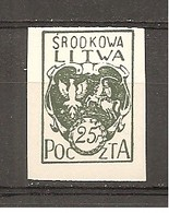 Lituania Central Nº Yvert  23 (MH/(*)) (sin Goma) - Lituania