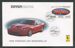 FDC FERRARI - BUSTA UFFICIALE - 1996 FERRARI 550 MARANELLO - AFGHAN POST - 438 - Automobili
