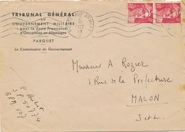 "GANDON N°721Ax2 Obl "" POSTE AUX ARMÉES 2/10/48"" Lettre En-tête TRIBUNAL GENERAL GOUVERNEMENT MILITAIRE ALLEMAGNE BPM 507 - Military Postmarks From 1900 (out Of Wars Periods)"