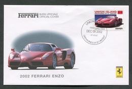 FDC FERRARI - BUSTA UFFICIALE - 2002 FERRARI ENZO - UNION ISLAND - 440 - Automobili