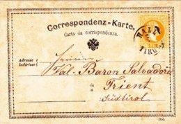 1873-Autriche Osterreich Austria Correspondenz Karte 2kr. Da Hall Tirol - 1850-1918 Impero