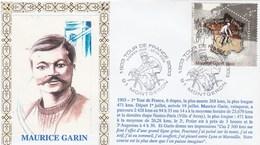 Enveloppe FDC 28/6/2003 MONTGERON Centenaire Du Tour De France Illustration Et Texte Historique Maurice GARIN - Cyclisme