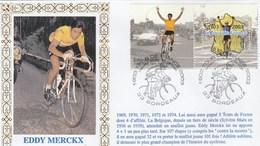 Enveloppe FDC 28/6/2003 BORDEAUX Centenaire Du Tour De France Illustration Et Texte Historique Eddy MERCKX - Cyclisme