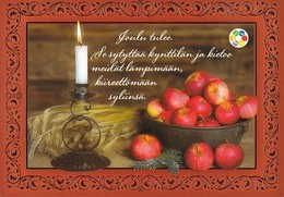 Postal Stationery - Bird - Candle Lighting - Apples - Cancer Foundation - Suomi Finland - Postage Paid - Finlandia