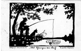 Künstler AK Scherenschnitt: - Beim Angeln- Karte . Gel. 1935 - Silhouette - Scissor-type