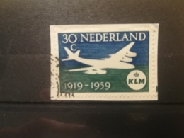 FRANCOBOLLI STAMPS OLANDA NEDERLAND 1959 USED SU FRAMMENTO ANNIVERSARY KLM PAESI BASSI FRAGMENT - Periodo 1949 - 1980 (Giuliana)