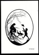Künstler AK Scherenschnitt: - Die Gänsemagd- Karte Nicht Gel - Scherenschnitt - Silhouette