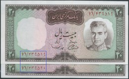 Banknotes PERSIA PERSE IRAN 1964 Mohammad Reza Shah Pahlavi 2X20 Rial ,(in Pairs Of The Serial Number) New ,Rare - Iran