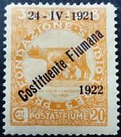 Fiume Occupation Italie Italy Italia Surchargé Overprinted Soprastampati 1922 Yvert 162 * MH - Fiume