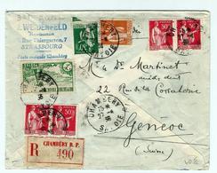 CHAMBERY -obl: 27.04.1936 - Sur 301 Et Type Paix - Yvert - Avec Recommandé Chambéry - Storia Postale