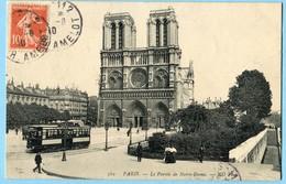 CPA 75 PARIS Cathédrale Notre Dame ( TRAM ) 1910 - Notre Dame De Paris