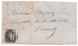 1856  BRIEFFRONT COB 6A V. PERUWELZ  N. PERUWELZ + Postbus H  Zie Scan(s) - 1851-1857 Médaillons (6/8)
