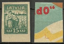 LETTLAND Latvia 1919 Michel 26 PROOF Probedruck Auf Etikette Printed On Label - Lettonia