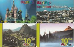 SWITZERLAND - PHONE CARD - PRÉPAIDS SUISSE *** 4 X MULTICARDS & PAYSAGES / 3 *** - Paysages