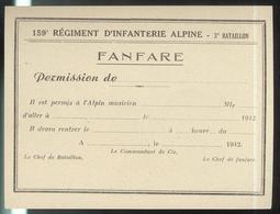 Bon De Permission - Fanfare Du 159ème RIA Régiment D'Infanterie Alpine - 3ème Bataillon - 1942 - Documentos