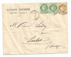 CERES 5CX2+15C LETTRE TYPE 16 BELVES 1876 DORDOGNE - Postmark Collection (Covers)