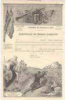 Certificat De Bonne Conduite De Bataillon De Chasseurs à Pied Vierge - Belle Impression - Dokumente