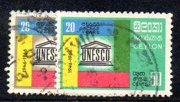 CI924b - CEYLON SRI LANKA 1966,  Serie Yvert  368/369  Usata (2380A). Unesco - Sri Lanka (Ceylon) (1948-...)