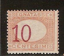 (Fb).Regno.Umberto I.1890-94.-10c Arancio E Carminio Nuovo,g.integra,MNH  Con Cifra Fortemente Spostata (7-19) - 1878-00 Umberto I