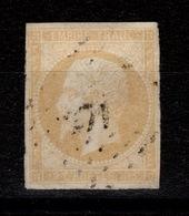 YV 13Aa (jaune Citron) Pas Aminci, 4 Marges Cote 85 Euros - 1853-1860 Napoleon III