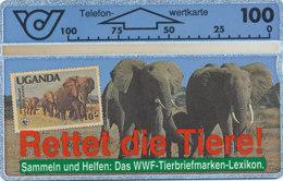 ÖSTERREICH Schalter Telefonkarte Nr. 28 WWF - Elefanten - 106 G -  Auflage  100 000 Stück - Siehe Scan -10836 - Oesterreich