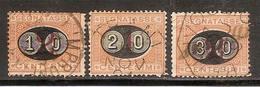 "(Fb).Regno.Umberto I.Segnatasse.1890-91.Serie ""Mascherine"" Di 3 Val Usati (776-16) - 1878-00 Humbert I"