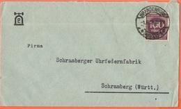 """Deutsches Reich - 1923 - 100 Perfin """"E"""" Patentwerk Von Ernst Paul Lehmann - Viaggiata Da Brandenburg Per Schramberg - Germania"""