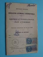CERTIFICAT International Pour AUTOMOBILES Anno 1951 - Masselat Félix LILLE > Rép. Français ( Voir Photo Pour Détail ) ! - Automobili
