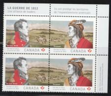 2012  War Of 1812 Heroes  Isaac Brock, Chief Tecumesh  Block Of 2 Pairs Se-tenant Sc 2554-5 MNH - 1952-.... Reign Of Elizabeth II