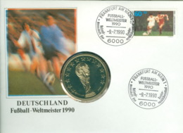 Medaille Deutschland Fußball-Weltmeister 1990 Numisbrief - Sonstige