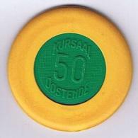 Casino Chip 50 BF Yellow Green Oostende Belgium Belgique - Casino