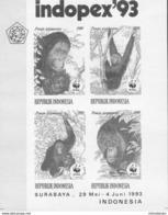 MDW-BK4-492 MDA MINT MNH ¤ INDONESIA 1993 4w In Serie BLOCK ¤ - WWF - ENDANGERED SPECIES - GAZELLE - Apen