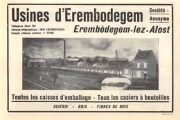 1928 - EREMBODEGEM-lez-ALOST - Caisses D'emballages - Usines D'Erembodegem S.A. - Dim. 1/2 A4 - Publicités