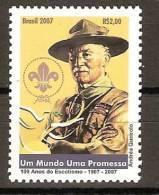 """BRASIL - 2007-  """" A CENTENARY SCOUT """" -    SERIE De 1 V. Dentado - Movimiento Scout"""