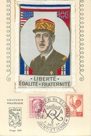 BELLE CARTE TISSEE SUR SOIE -  BRODEE - GENERAL De GAULE - SAINT ETIENNE - DECEMBRE 1944 - Embroidered