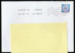 """2018 : Timbre Postal Adhésif """"Flocons De Neige En Microscope Optique"""" Seul Sur Lettre - 1961-...."""