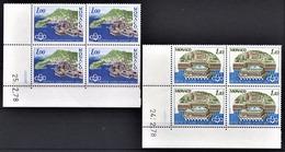 MONACO 1978 - SERIE 2 BLOCS DE 4 TP  N° 1136 Et 1137  - OBLITERES / COINS DE FEUILLES / DATES - Monaco