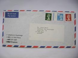 Great Britain 1990 Air Mail Letter Cardiff To Austria, Stamp Queen Elizabeth II, 2+15+24 P. - 1952-.... (Elizabeth II)