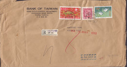 Taiwan BANK OF TAIWAN, Registered Label SP.O.17 TAIPEI 1965 Cover Brief KÖLN 10.00 $ Weltaustellung Fish Fische Karpfen - 1945-... República De China