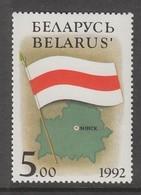 TIMBRE NEUF DE BIELORUSSIE - CARTE AVEC CAPITALE ET DRAPEAU N° Y&T 2 - Belarus