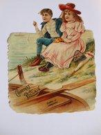 B0085d - Chromo Découpi CHOCOLAT POULAIN - ENFANTS AU BORD DE L'EAU Barque Rame Parapluie Sac à Main Chapeau - Victorian Die-cuts