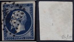 N°14Ab Bleu Noir Intense Oblitéré Pc 1896, Superbe Nuance Très Intense, Signé Calves, Très Rare Aussi Noir, TB - 1853-1860 Napoléon III