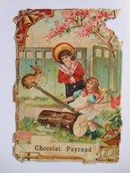 B0086b - Chromo Découpi Gaufré CHOCOLAT PAYRAUD - ENFANTS - FILLE QUI FAIT DE LA BALANCOIRE AVEC UN LAPIN - Victorian Die-cuts