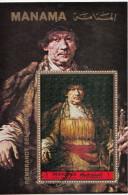 """Manama 1972 Mi. Bf. 199a  """"Autoritratto Con Bastone""""  Quadro Dipinto Rembrandt CTO Barocco Paintings Tableaux - Manama"""