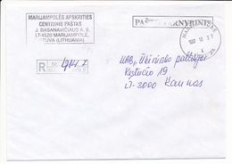 Pašta Tarnybinis Postal Service / Registered Domestic Cover - 27 October 1997 Marijampolė - Lituania