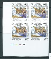 St Vincent Grenadines 1988 75c Explorer Bering & Ship On Ice Imperforate Proof Plate Number Block 4 MNH - St.Vincent & Grenadines