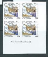St Vincent Grenadines 1988 75c Explorer Bering & Ship On Ice Imperforate Proof Imprint Block 4 MNH - St.Vincent & Grenadines